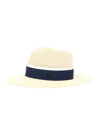 Main View - Click To Enlarge - MAISON MICHEL - Henrietta contrast ribbon straw fedora hat