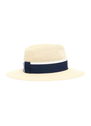 Figure View - Click To Enlarge - MAISON MICHEL - Henrietta contrast ribbon straw fedora hat