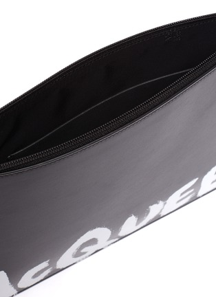 Detail View - Click To Enlarge - ALEXANDER MCQUEEN - Graffiti flat zip leather pouch