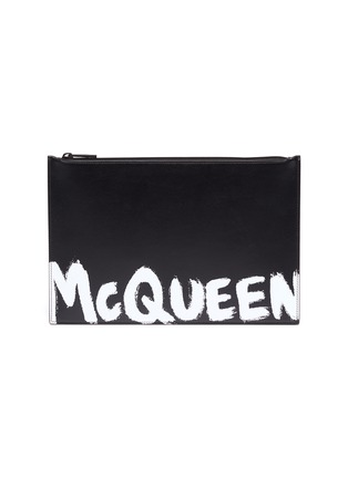 Main View - Click To Enlarge - ALEXANDER MCQUEEN - Graffiti flat zip leather pouch