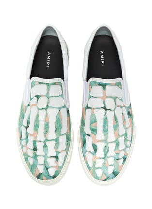 Detail View - Click To Enlarge - AMIRI - 'Skel-Toe' banana leaves print slip on shoes