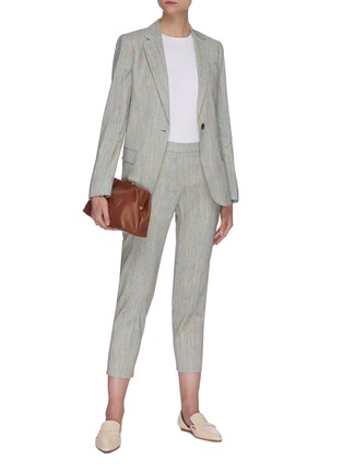Figure View - Click To Enlarge - THEORY - 'Staple' single button tailored linen blend blazer