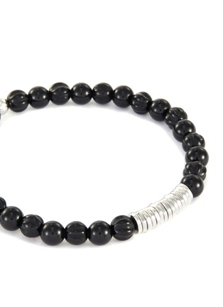 Detail View - Click To Enlarge - TATEOSSIAN - Agate silver disc bead bracelet