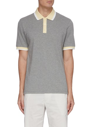 Main View - Click To Enlarge - THEORY - Contrast trim cotton polo shirt