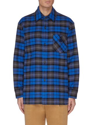 Main View - Click To Enlarge - ACNE STUDIOS - Check print face patch pocket flannel shirt