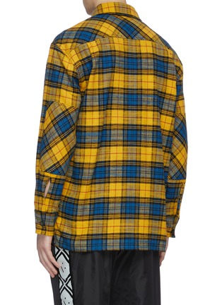 Back View - Click To Enlarge - ACNE STUDIOS - Check print face patch pocket flannel shirt