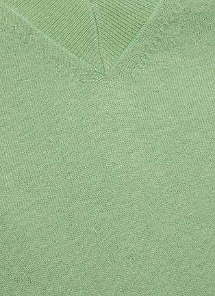 - KARMUEL YOUNG - Mock V neck merino wool sweater