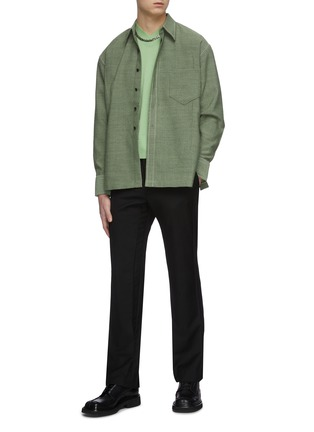 Figure View - Click To Enlarge - KARMUEL YOUNG - Cuboid wool blend overshirt