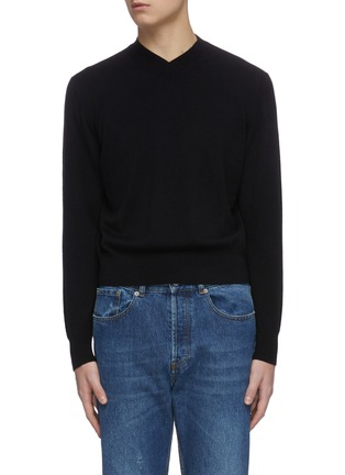 Main View - Click To Enlarge - KARMUEL YOUNG - Mock V neck merino wool sweater