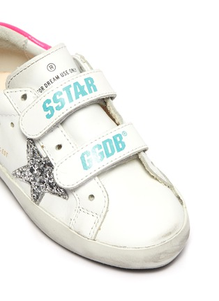 Detail View - Click To Enlarge - GOLDEN GOOSE - 'Old School' sequin star patch toddler leather shoes