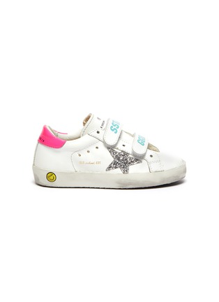 Main View - Click To Enlarge - GOLDEN GOOSE - 'Old School' sequin star patch toddler leather shoes