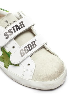 Detail View - Click To Enlarge - GOLDEN GOOSE - 'Old School' reflective star patch toddler leather shoes