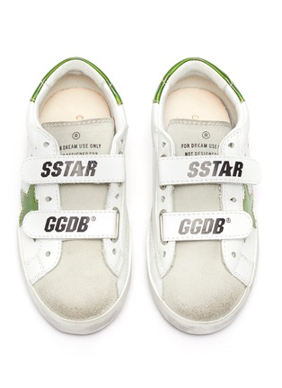 Figure View - Click To Enlarge - GOLDEN GOOSE - 'Old School' reflective star patch toddler leather shoes