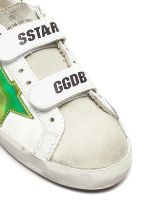 Detail View - Click To Enlarge - GOLDEN GOOSE - 'Old School' reflective star patch kids leather shoes