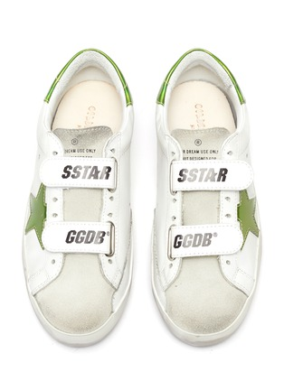 Figure View - Click To Enlarge - GOLDEN GOOSE - 'Old School' reflective star patch kids leather shoes