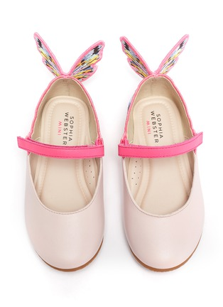 Figure View - Click To Enlarge - SOPHIA WEBSTER - 'Chiara' embroidered butterfly wing velcro strap toddler ballerina flats