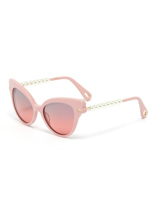 Main View - Click To Enlarge - LELE SADOUGHI - Chelsea' pearl temple cat eye sunglasses