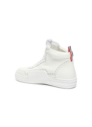 - THOM BROWNE - High top leather basketball sneakers