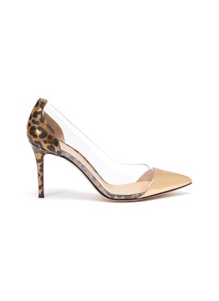 Main View - Click To Enlarge - GIANVITO ROSSI - Plexi' PVC leopard print metallic leather pumps