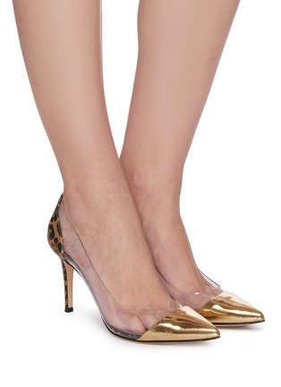 Figure View - Click To Enlarge - GIANVITO ROSSI - Plexi' PVC leopard print metallic leather pumps