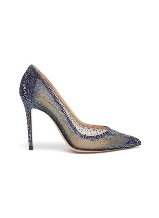 Main View - Click To Enlarge - GIANVITO ROSSI - Rania' iridescent organza suede leather pumps