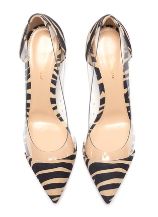 Detail View - Click To Enlarge - GIANVITO ROSSI - Plexi 85' zebra print suede leather pumps