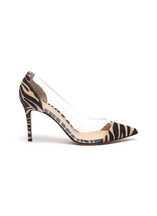 Main View - Click To Enlarge - GIANVITO ROSSI - Plexi 85' zebra print suede leather pumps
