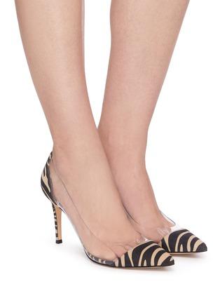 Figure View - Click To Enlarge - GIANVITO ROSSI - Plexi 85' zebra print suede leather pumps