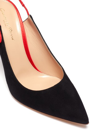 Detail View - Click To Enlarge - GIANVITO ROSSI - Caterina' stiletto heel slingback suede contrast pumps