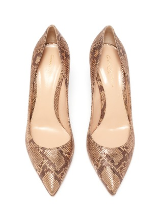 Detail View - Click To Enlarge - GIANVITO ROSSI - Gianvito 70' snake embossed metallic pumps