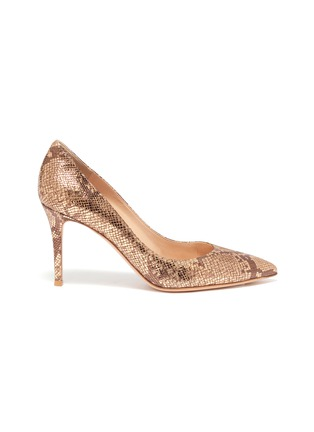 Main View - Click To Enlarge - GIANVITO ROSSI - Gianvito 70' snake embossed metallic pumps