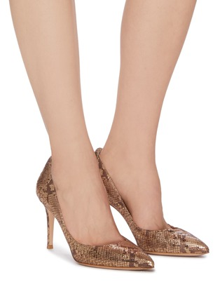Figure View - Click To Enlarge - GIANVITO ROSSI - Gianvito 70' snake embossed metallic pumps