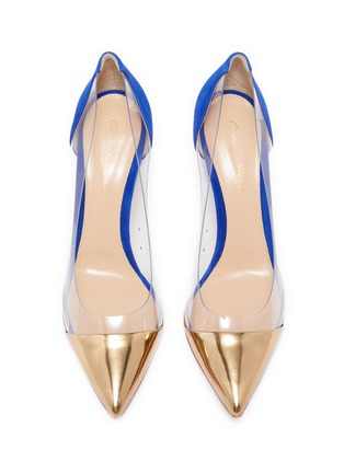 Detail View - Click To Enlarge - GIANVITO ROSSI - Plexi' PVC contrast suede pumps