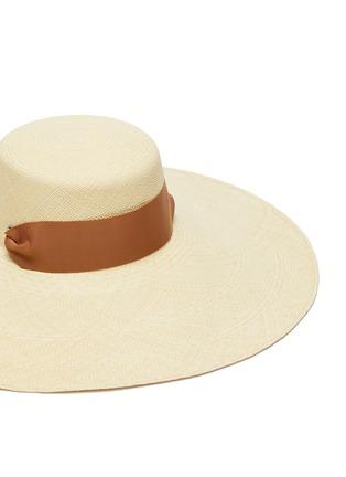 Detail View - Click To Enlarge - SENSI STUDIO - Cordovez extra long brim ribbon embellished toquilla straw hat