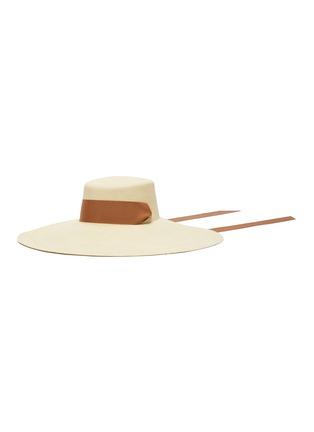 Main View - Click To Enlarge - SENSI STUDIO - Cordovez extra long brim ribbon embellished toquilla straw hat
