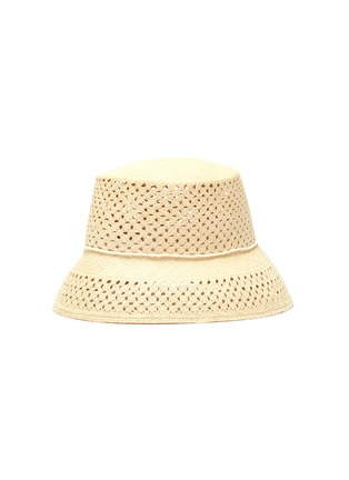 Figure View - Click To Enlarge - SENSI STUDIO - Calado lamp shade toquilla straw hat