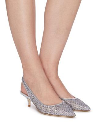 Figure View - Click To Enlarge - STUART WEITZMAN - Vea' mesh slingback heeled sandals