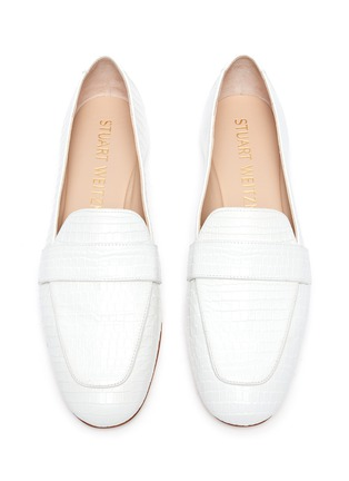 Detail View - Click To Enlarge - STUART WEITZMAN - Payson' croc-embossed leather loafers