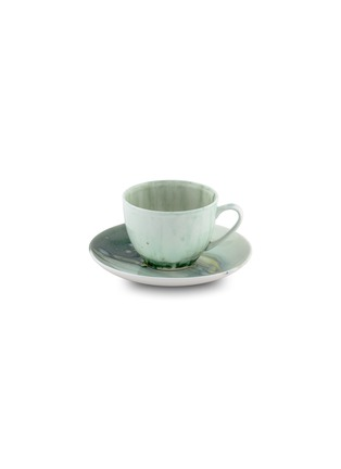 Main View - Click To Enlarge - CORALLA MAIURI - Stone Bone China Teacup and Saucer – Green