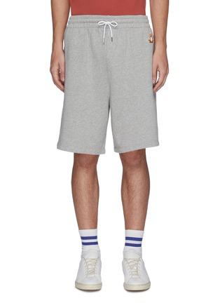 Main View - Click To Enlarge - MAISON KITSUNÉ - Lotus fox patch drawstring waist jogging shorts