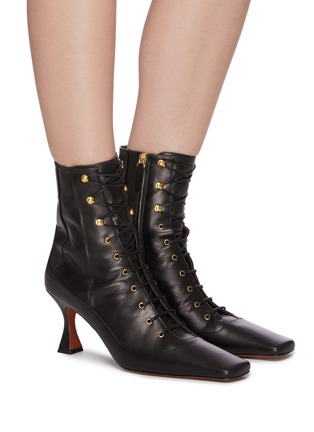 Figure View - Click To Enlarge - MANU ATELIER - 'Duck' lace up leather ankle boots