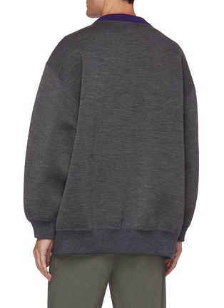 Back View - Click To Enlarge - KOLOR - Logo tag contrast collar knit sweatshirt