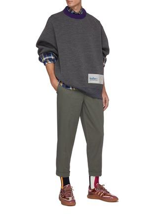 Figure View - Click To Enlarge - KOLOR - Logo tag contrast collar knit sweatshirt