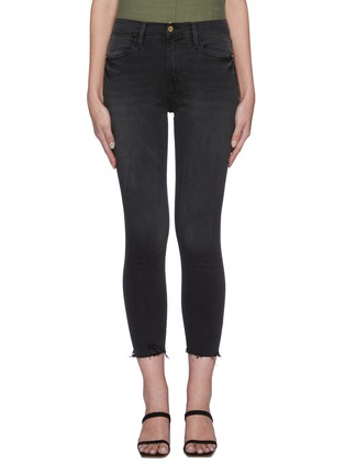 Main View - Click To Enlarge - FRAME DENIM - 'Le High Skinny' raw edge jeans