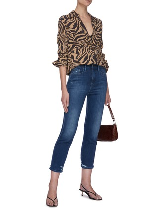 Figure View - Click To Enlarge - FRAME DENIM - 'Le Pixie Sylvie' distressed cuff jeans