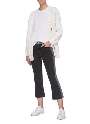 Figure View - Click To Enlarge - FRAME DENIM - Le Pixie colourblock mini bootcut jeans