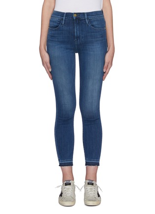 Main View - Click To Enlarge - FRAME DENIM - 'Le High Skinny' released raw hem jeans