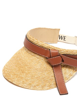 Detail View - Click To Enlarge - LOEWE - Gate' straw leather visor
