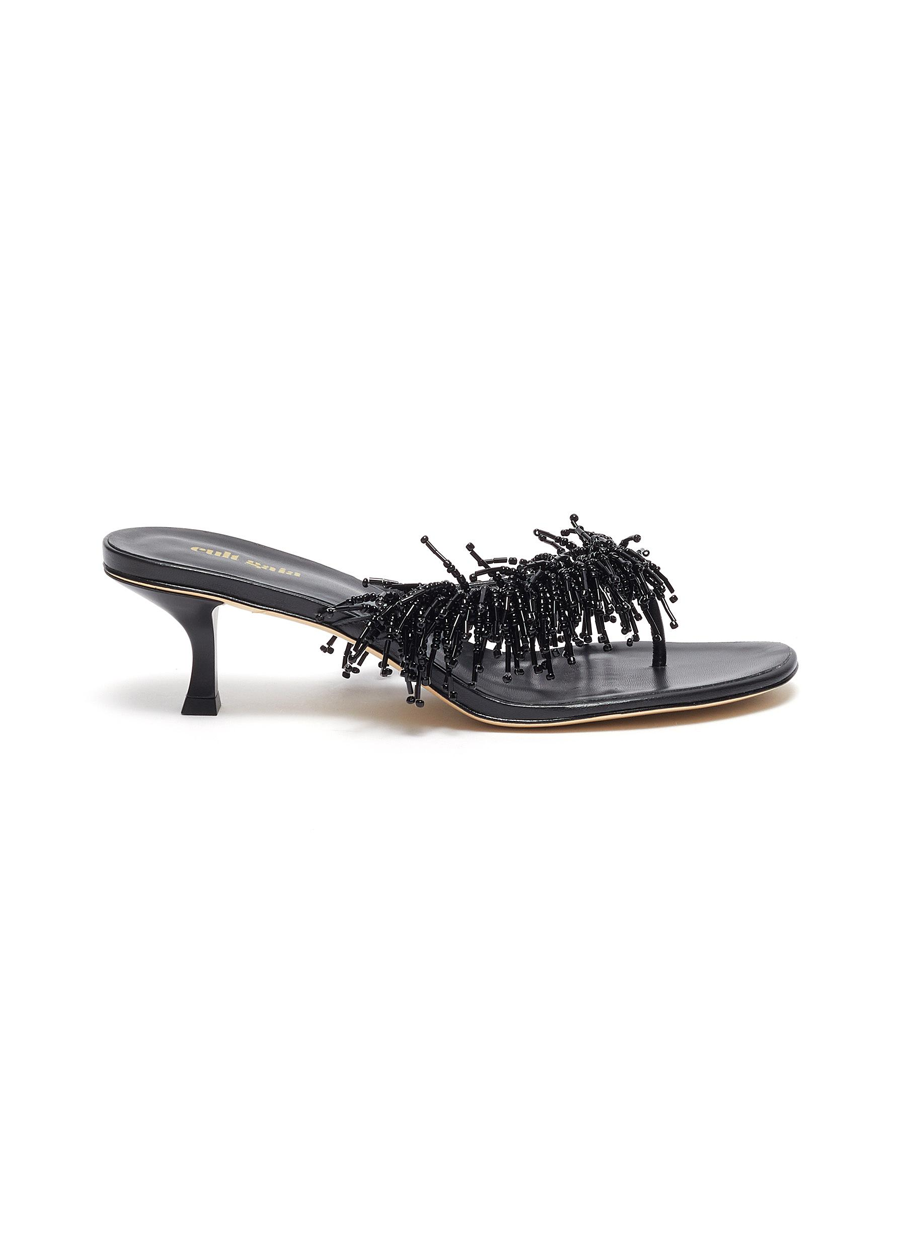 Cult Gaia HERA BEADED TASSEL HEELED LEATHER THONG SANDALS