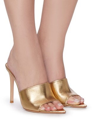Figure View - Click To Enlarge - GIANVITO ROSSI - Point toe heeled leather mule sandals